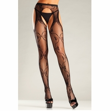 Fishnet Suspender Pantyhose With Bow Designs