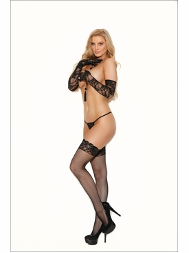Fishnet Thigh Hi With Stay Up Silicone Lace Top Stockings