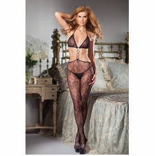 Floral Lace Cut-Out Bodystocking