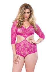 Floral Lace Deep-V Cut Out Teddy