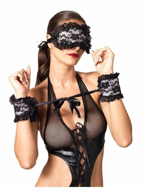 Floral Lace Satin Cuffs And Mask