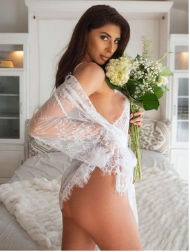 Floral Lace Teddy With Matching Robe