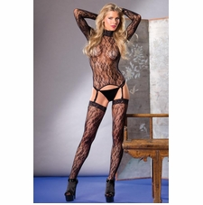 Floral Lace Turtleneck Top With Garters And Stockings