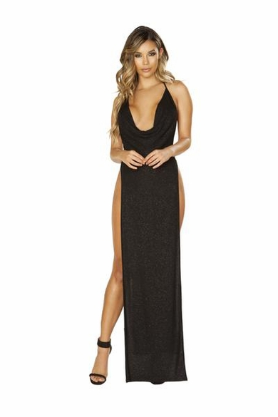 Glittery Shimmer Cowl Neck Maxi Length Dress with High Slits