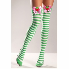 Green & White Striped Thigh Highs With Strawberries On Bow