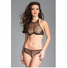 Halter Lace Bra With Lace Briefs
