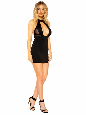 Halter Neck Dress with Large Cutout and Sheer Mesh Detail