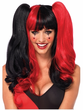 Harlequin Wig With Clip-On Pony Tail