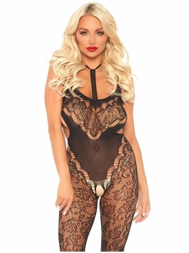 Harness Halter Floral Lace Bodystocking