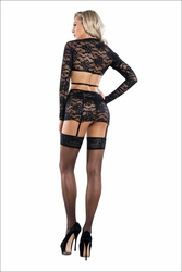 Lace Top With Garter Skirt And Thong