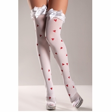 Heart Pattern Thigh Highs With Bows