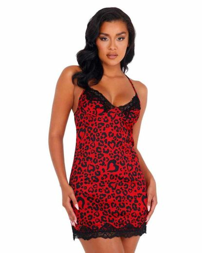 Heart Shaped Leopard Chemise with Lace Detail