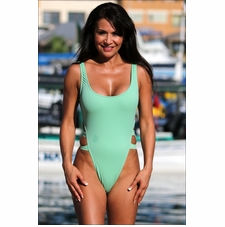 High Cut Double Strap One Piece Bathing Suit