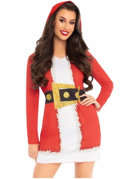 Hooded Long Sleeve Santa T-Shirt Dress