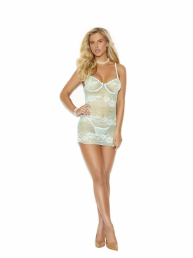 Horizontal Striped Lace Babydoll G-String Included