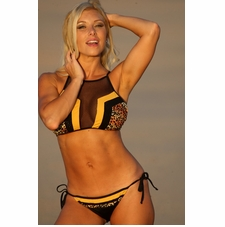 Jamaican Color Block Bikini Bathing Suit
