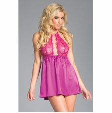 Keyhole Front Satin Babydoll And Panty