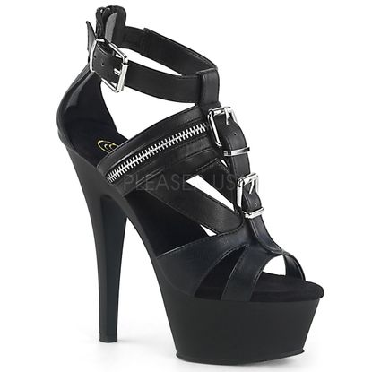 Pleaser Kiss-251 Buckled T-Strap Biker Sandal