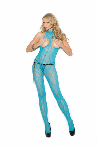Elegant Moments 1303 Lace Bodystocking With Open Bust