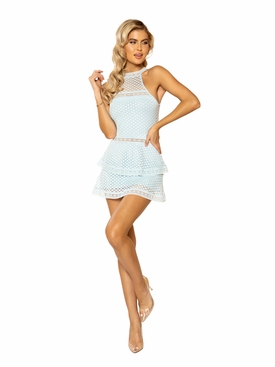Lace Panel Tiered Bodycon Dress