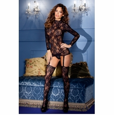 Lace Suspender Bodystocking With Keyhole Back