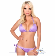 Lavender Glitter Rhinestone Pucker Back Bikini Bathing Suit