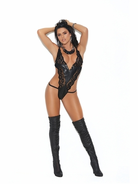 Leather And Lace Halter Neck String Teddy