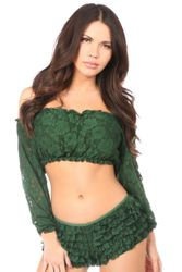 Lined Lace Long Sleeve Peasant Top Many Colors