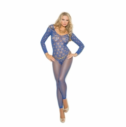 Long Sleeve Crochet Bodystocking With Open Crotch