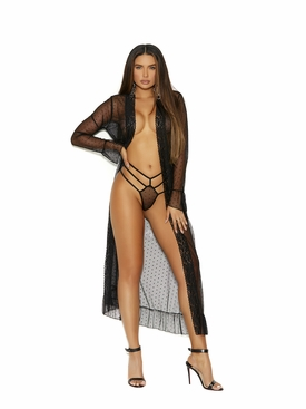 Long Sleeve Dotted Mesh Robe And G-String
