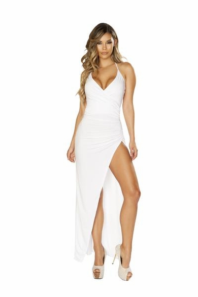 Maxi Length Dress with Overlapping Scrunch & High Slit