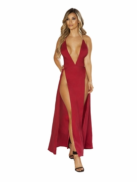 Maxi Length Satin Dress with High Slits & Deep V