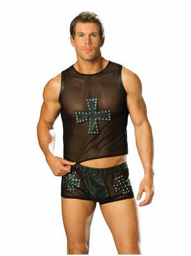 Men's Leather And Mesh Shorts