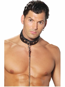 Men's Leather Collar With O Ring Detail