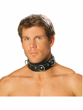 Men's Leather Collar With O Rings And Nail Heads