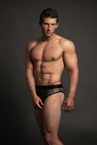 Men's Luca Sheer Lace Mid-Rise Brief