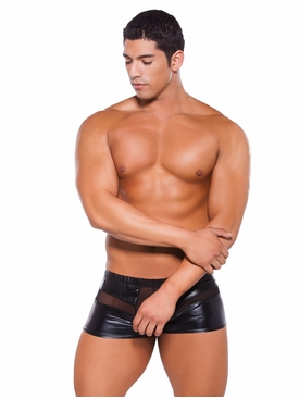 Men's Zeus Wet Look Peek A Boo Shorts