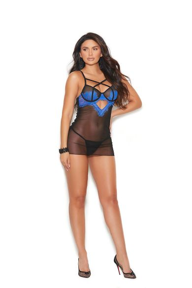 Mesh And Eyelash Lace Babydoll G-String Included