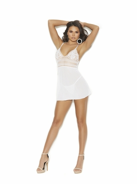 Mesh Babydoll With Crochet Bodice G-String Included