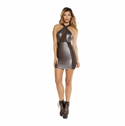 Mini Dress with Striped Sheer Detail