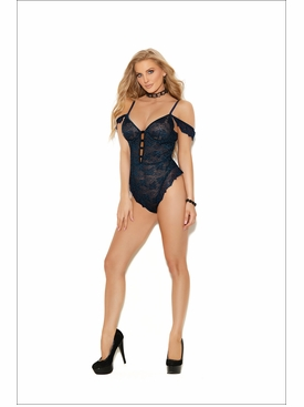 Off The Shoulder Lace Teddy With Underwire Cups