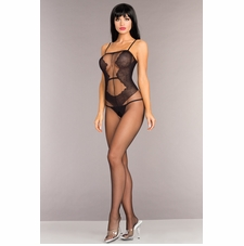 Opaque Bodystocking With Lace Design