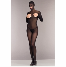 Opaque Cupless And Crotchless Hooded Bodystocking