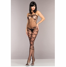 Opaque Floral Design Bodystocking With Shoulder Straps