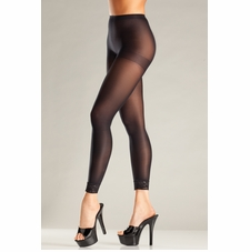 Opaque Footless Pantyhose With Lace Ankle Trim