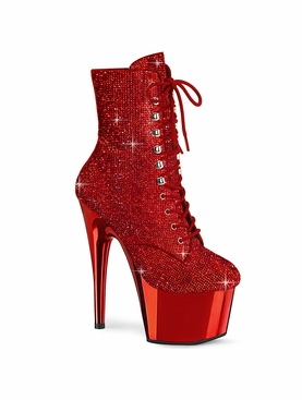 Pleaser Adore-1020CHRS Lace-Up Front Ankle Boot