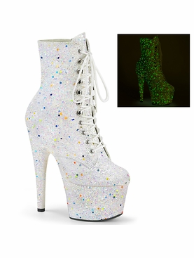 Pleaser Adore-1020GDLG Black Light Reactive Ankle Boot