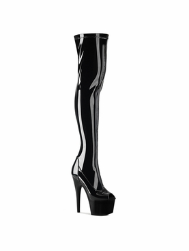 Pleaser Adore-3011 Peep Toe Stretch Thigh High Boot