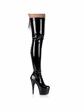 Pleaser Adore-3063 Rear Lace-Up Stretch Thigh Boot