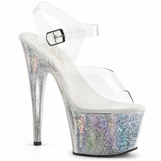 Pleaser Adore-708HB Holographic Ankle Strap Sandal